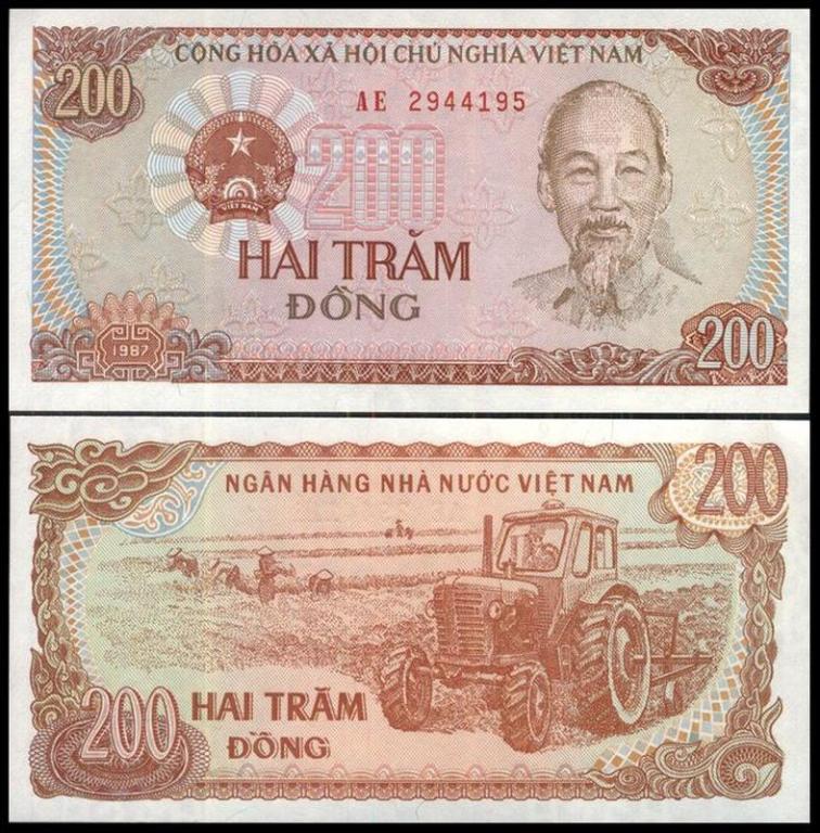 ВЬЕТНАМ 200 донг 1987г. UNC