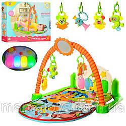 Детский Коврик пианино HY68109 для малышей 86-51 см, звук, свет, подвески 5 шт