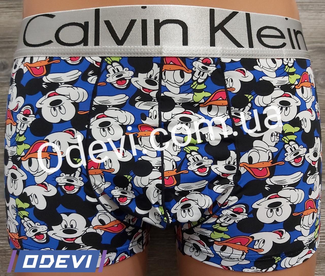 Трусы мужские шелковые Calvin Klein копия рисунок Микки Маус