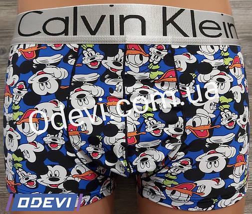 Трусы мужские шелковые Calvin Klein копия рисунок Микки Маус, фото 2