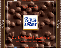 Черный шоколад Ritter Sport с лесными орехами 100г.