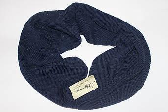Женский шарф снуд хомут с люриксом темно синий