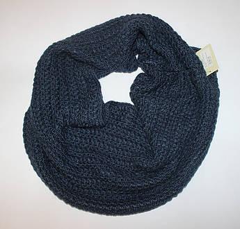 Темно синий женский шарф хомут снуд вязаный