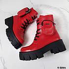 Зимние женские красные ботинки, натуральная кожа, фото 7