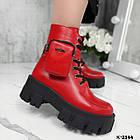 Зимние женские красные ботинки, натуральная кожа, фото 2
