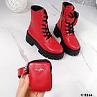Зимние женские красные ботинки, натуральная кожа, фото 9