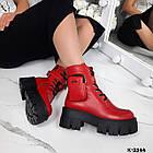 Зимние женские красные ботинки, натуральная кожа, фото 3