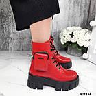 Зимние женские красные ботинки, натуральная кожа, фото 4