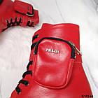 Зимние женские красные ботинки, натуральная кожа, фото 10