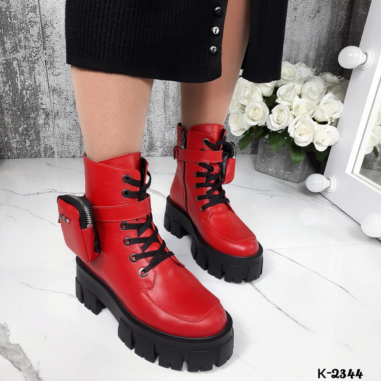 Зимние женские красные ботинки, натуральная кожа