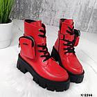 Зимние женские красные ботинки, натуральная кожа, фото 6