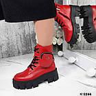 Зимние женские красные ботинки, натуральная кожа, фото 5