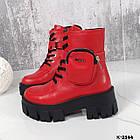 Зимние женские красные ботинки, натуральная кожа, фото 8