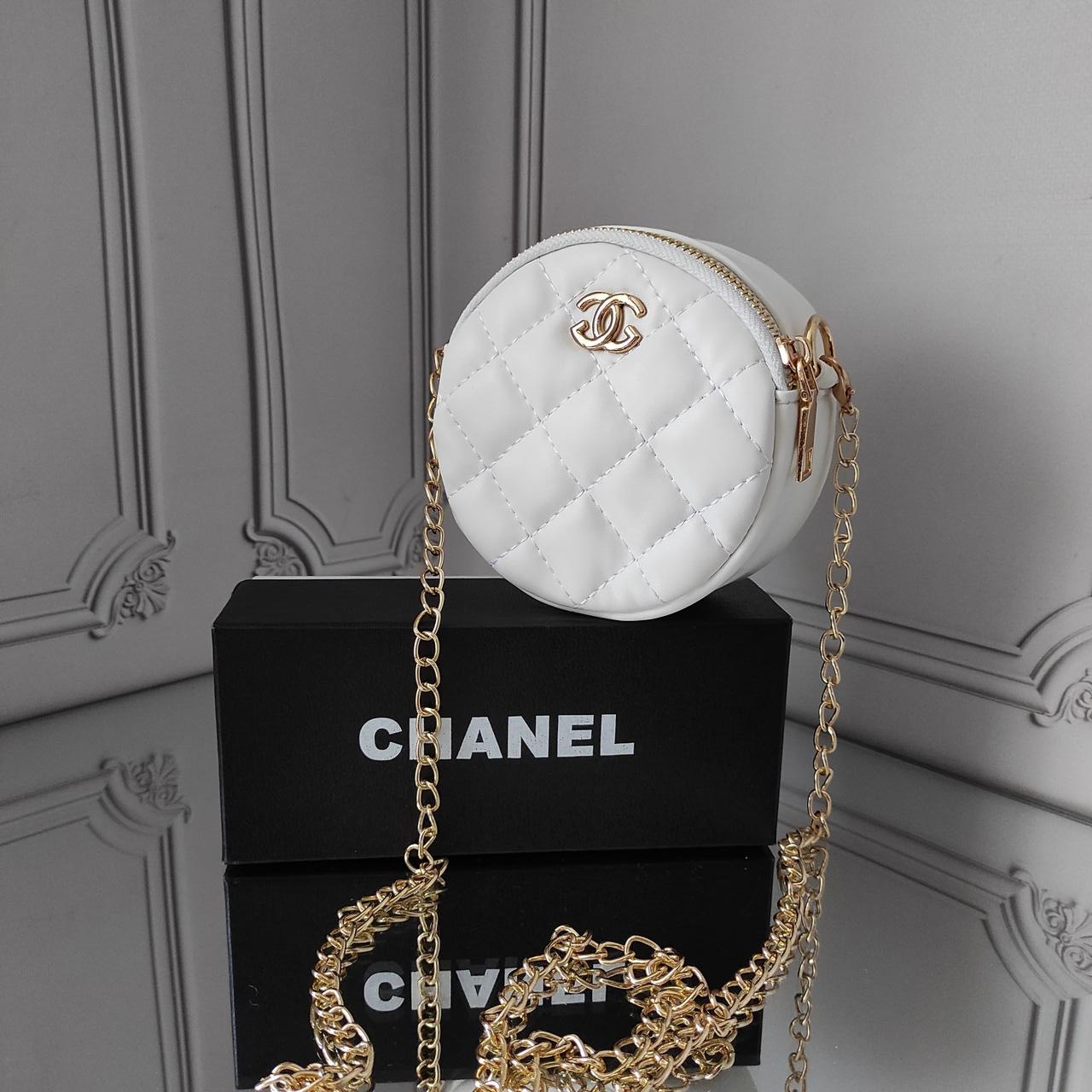 Мини кросс боди, белая сумка Chanel