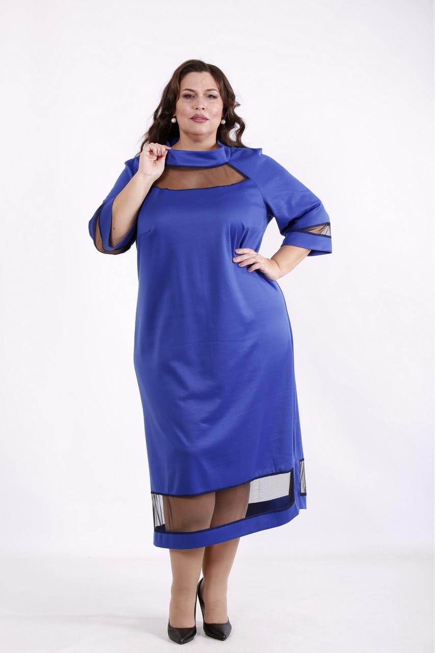 Платье электрик ниже колена нарядное трикотажное большого размера 42-74. 01711-1