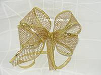"""Новогодняя лента золотая""""сетка""""для бантов с проволочным краем(3.8см)на метраж"""