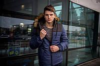 """Куртка мужская зимняя синяя - черная """"Аляска"""" с мехом + подарок Перчатки, фото 1"""