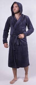 Мужской махровый халат на запах с капюшоном 44-58 р