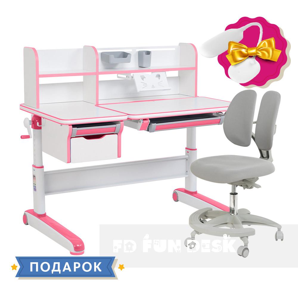 Растущий комплект стол-трансформер FunDesk Libro Pink + подростковое кресло FunDesk Primo Grey