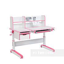 Растущий комплект стол-трансформер FunDesk Libro Pink + подростковое кресло FunDesk Primo Grey, фото 2