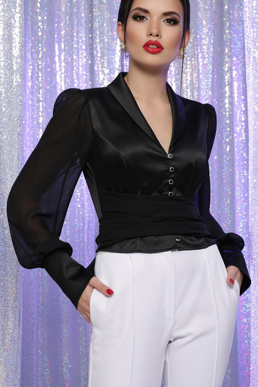 Нарядная черная атлассная блуза с полупрозрачными рукавами и поясом-бантом Аврил д/р