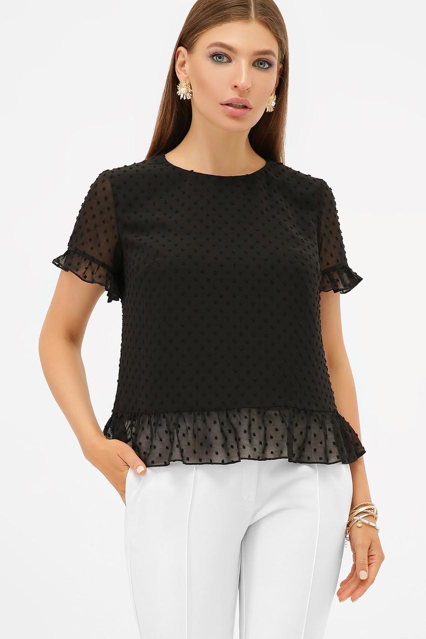 Черная универсальная шифоновая блузка с короткими рукавами  Диас к/р