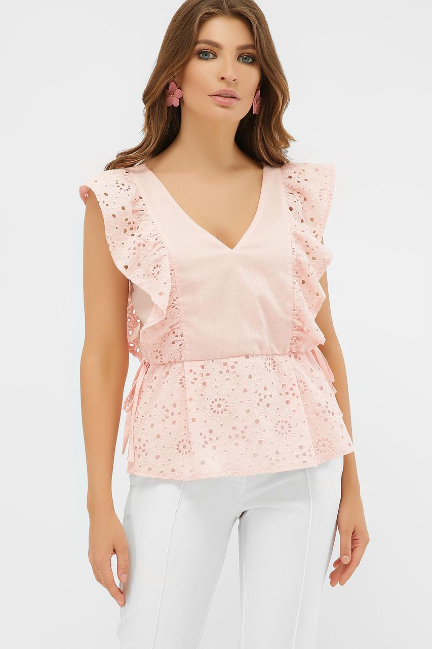 Легка персикова бавовняна літня блуза з рюшами Іларі б/р