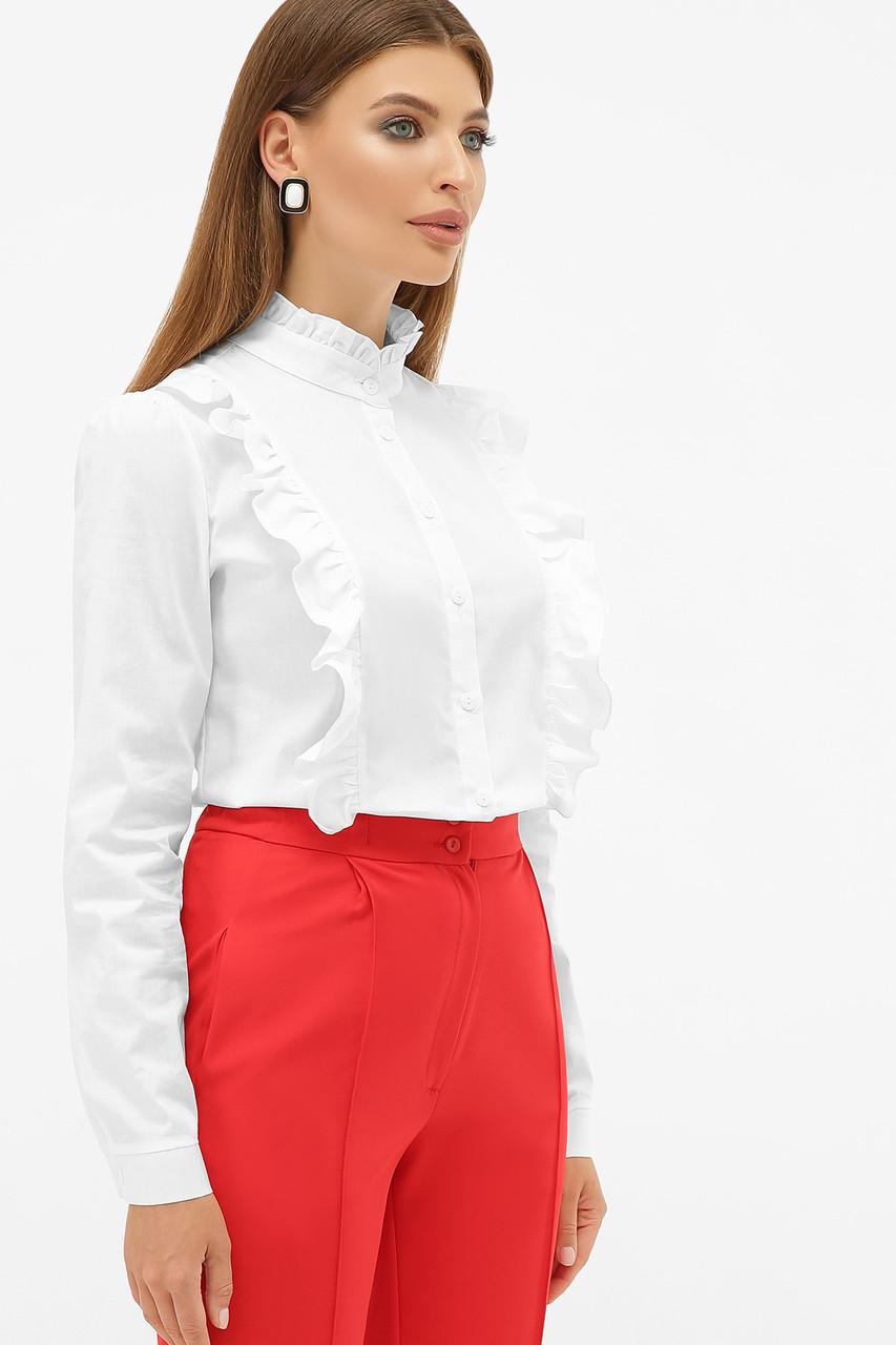 Хлопковая женская белая блузка с воротником-стойкой и рюшами  Мэнди д/р