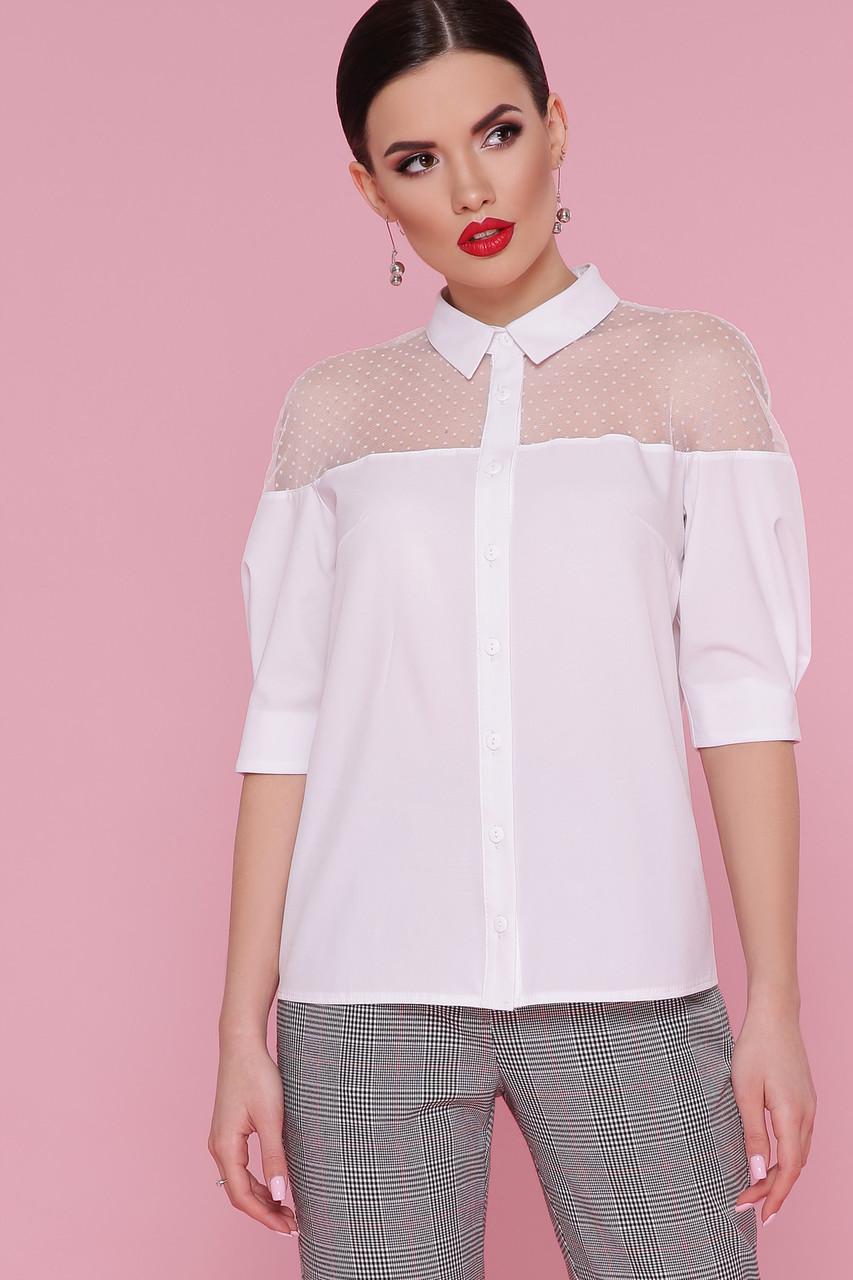 Белая женская блузка с прозрачными вставками с сетки горох  Рокси 2 д/р