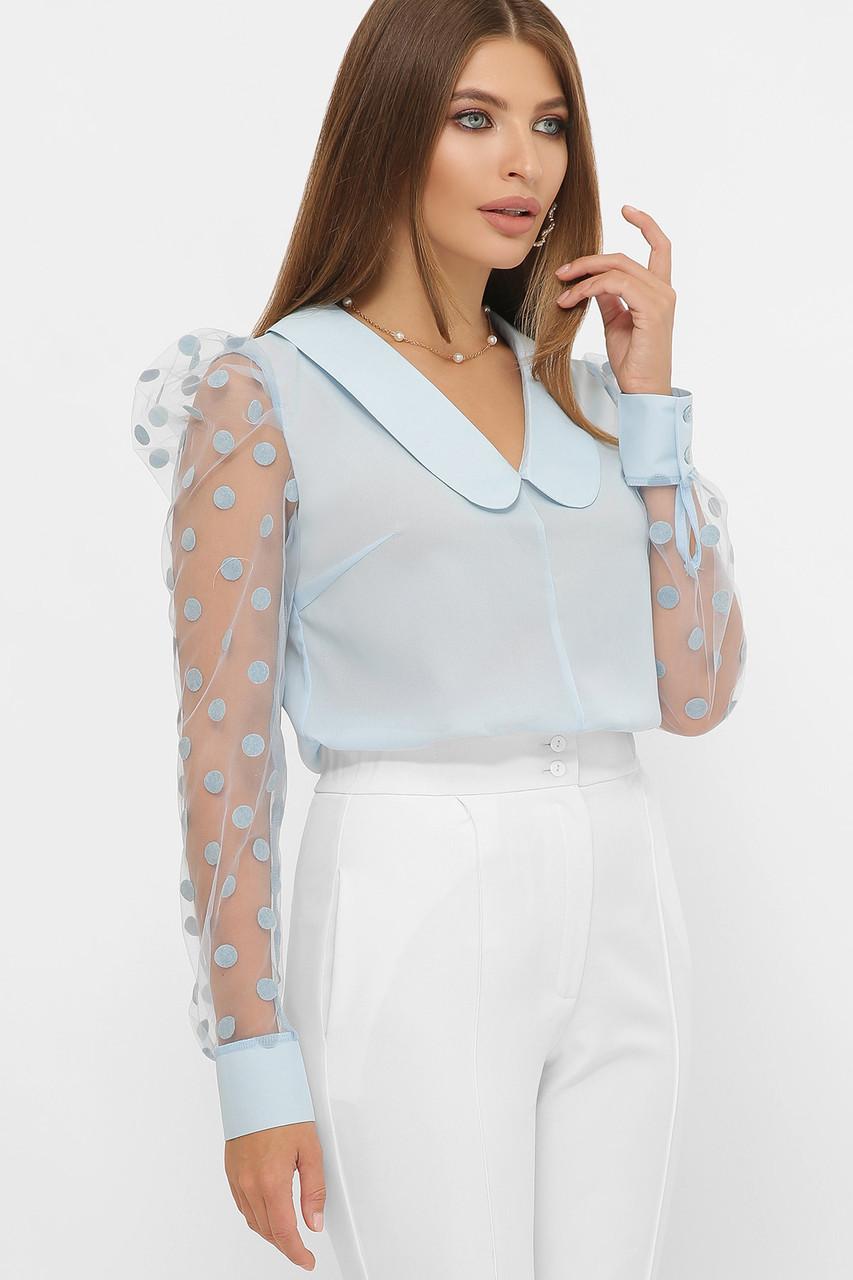 Женская голубая нарядядная блузка в горошек с прозрачными рукавами на манжетах Сесиль д/р