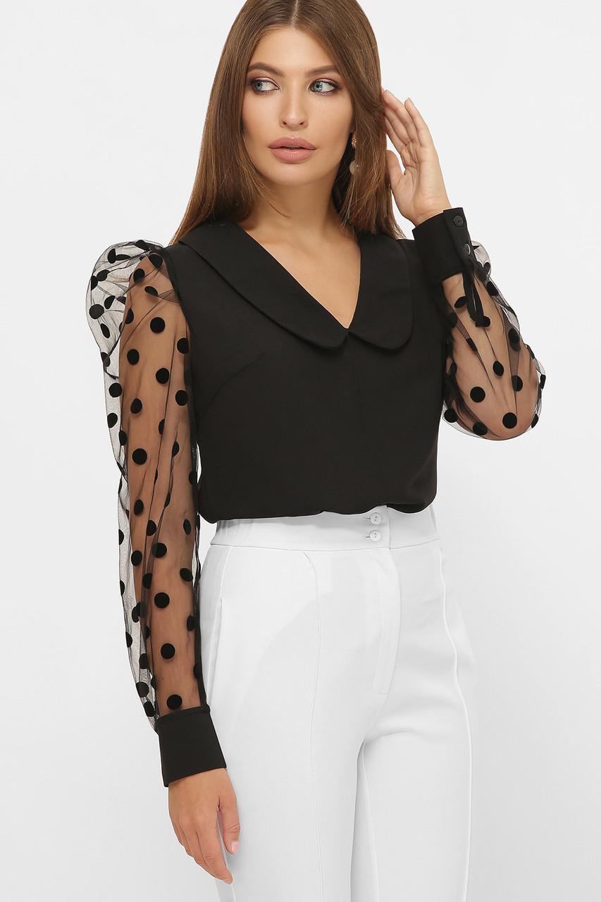 Женская черная нарядядная блузка в горошек с прозрачными рукавами на манжетах Сесиль д/р