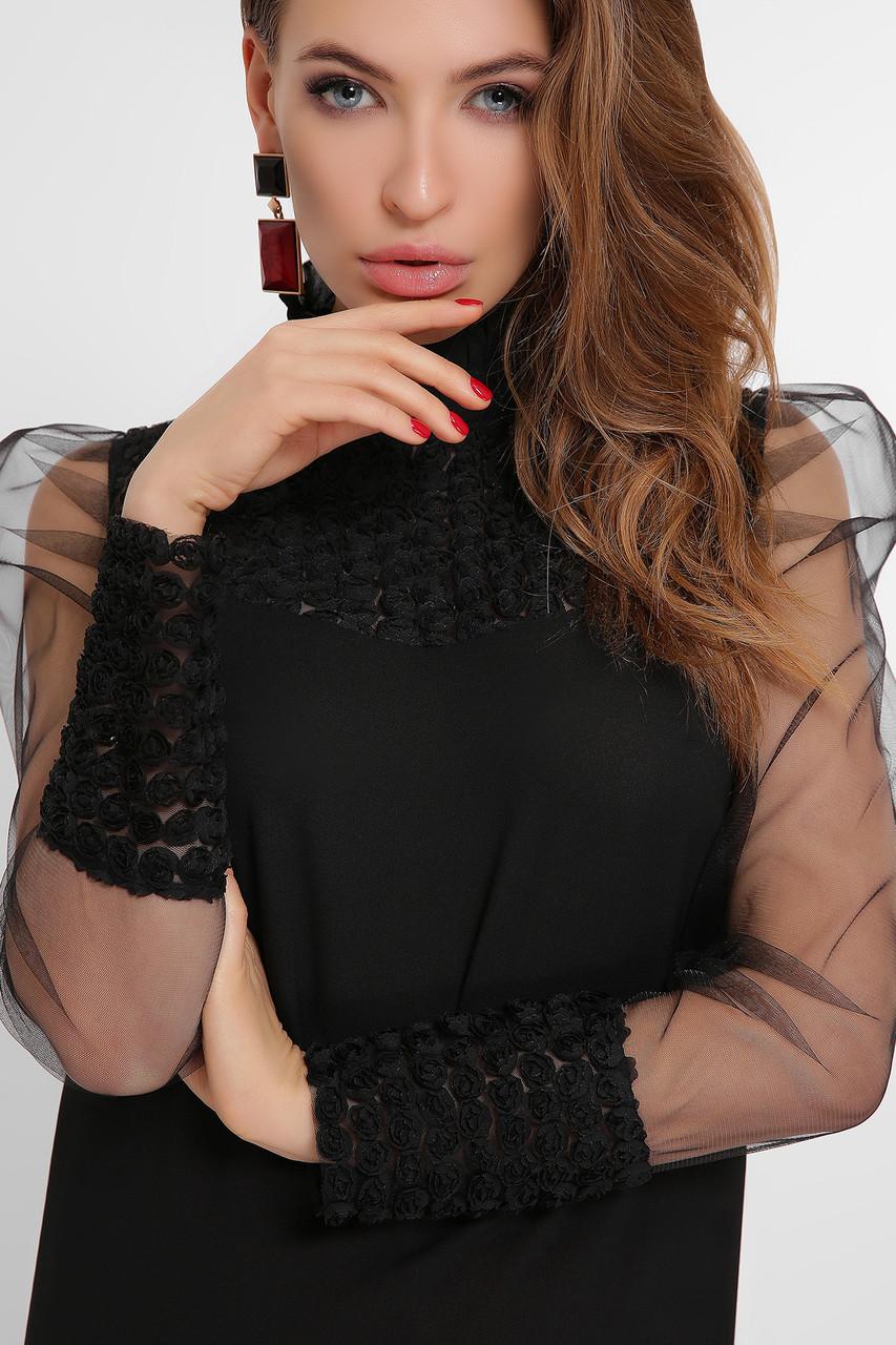 Нарядная черная блузка с прозрачными рукавами и апликацией на сетке Соломея д/р