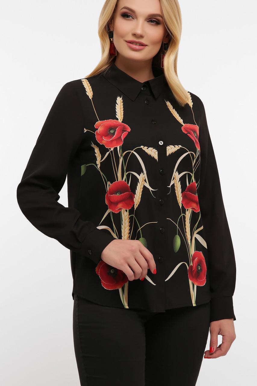 Чорна шифонова блузка великих розмірів з маками Маки Лекса-Б КШ д/р