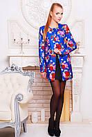 Короткое женское пальто из кашемира с цветочным принтом цвета электрик, фото 1