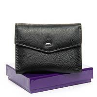 Маленький кожаный кошелёк для девушки. Черный