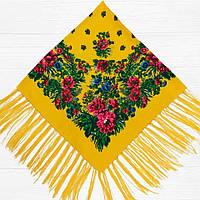 Хустка народна з бахромою (100х100) жовта