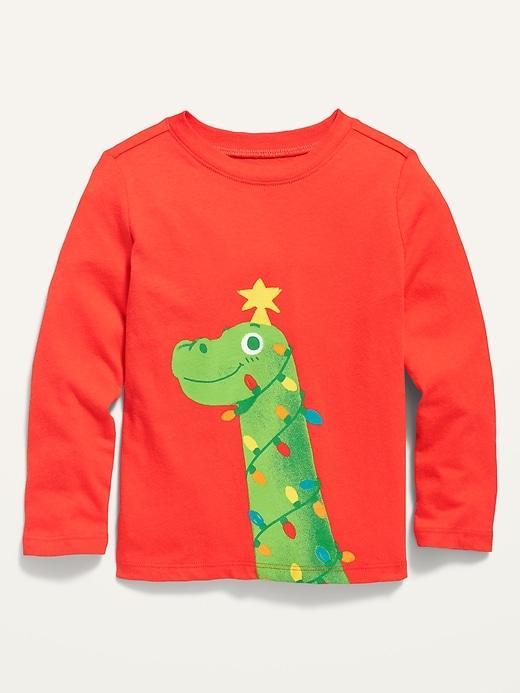 Яскравий новорічний регланчик з динозавриком для хлопчика Олд Неві
