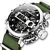 Часы оригинальные мужские наручные кварцевые Megalith 8051M Green-Silver-Black / часы оригиналы, фото 5