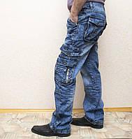 Мужские всесезонные джинсы темно-синего цвета в стиле Diesel. Демисезонные джинсы карго (cargo) с карманами