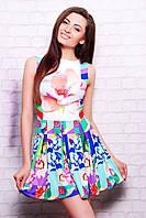 Нежное женское платье с цветочным принтом и расклешенным низом, фото 1