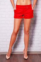 Женские классические шорты с подворотом красные