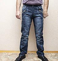 Мужские всесезонные джинсы темно-синего цвета в стиле Diesel. Демисезонные джинсы карго (cargo) с карманами, фото 1