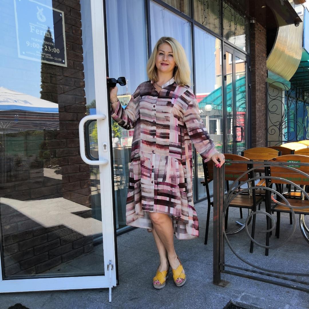 Платье оверсайз Бохо шелк  48-56, пастель акварель