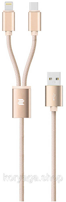 Кабель Rock 2 in 1 charging cable w/version D/USBA TO lightningmicro/ 1,2M Gold #I/S