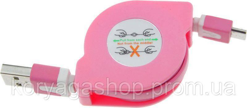 Кабель Toto TKX-66 Flat Usb cable microUsb 1m Pink #I/S