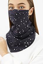 Женская маска платок темно-синего цвета в звездочки
