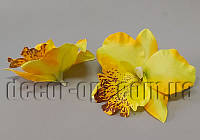 Голова желтой орхидеи тканевая 11см/1шт