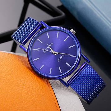 Жіночі наручні годинники з синім ремінцем код 630