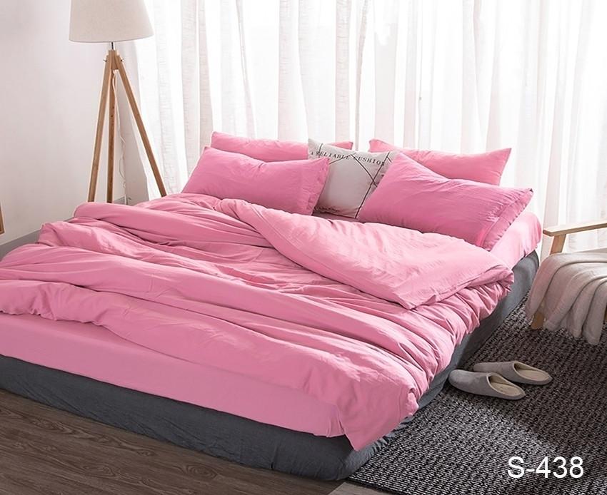Розовый комплект постельного белья с двумя пододеяльниками из люкс сатину S438