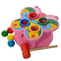 Деревянная игрушка стучалка MD 0045 ( 0045-1 (Бабочка)  с молоточком)
